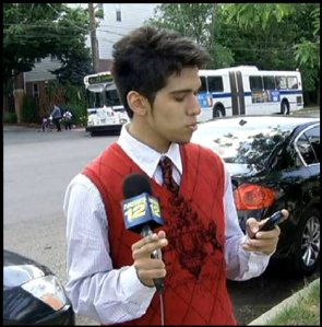 Michael Oleaga during his time interning for News 12 The Bronx.