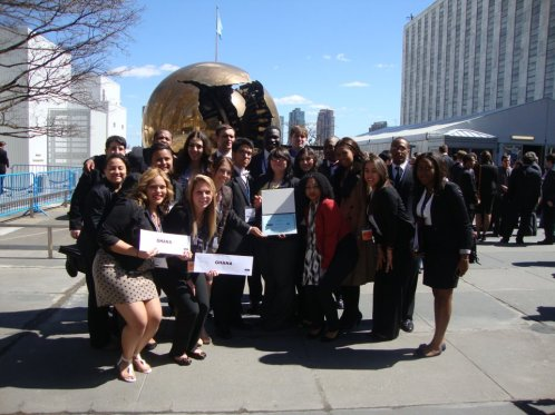 The spring 2012 Model United Nations team of Pace University-Westchester outside the U.N. headquarters.